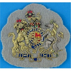 WO1 Rank Badge - Mess Kit Size - On Grebe Grey ACC with Queen Elizabeth's Crown. Bullion wire-embroidered Warrant Officer rank b