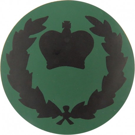 NBC Suit Rank Sticker - WO2 (RQMS) - With Wreath Black On Green with Queen Elizabeth's Crown. Vinyl Warrant Officer rank badge
