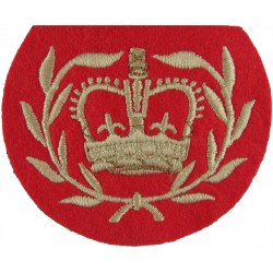 WO2 (RQMS) Rank Badge (Duke Of Wellington's Regt) White On Scarlet with Queen Elizabeth's Crown. Embroidered Warrant Officer ran