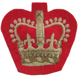 WO2 (Crown Only) Rank (Duke Of Wellington's Regt) White On Scarlet with Queen Elizabeth's Crown. Embroidered Warrant Officer ran