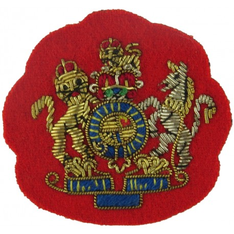 WO1 Rank Badge - Mess Kit Size - On Scarlet  with Queen Elizabeth's Crown. Bullion wire-embroidered Warrant Officer rank badge