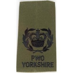 WO2 (RQMS) PWO/Yorkshire - Black On Olive (Combat '95 Uniform) with Queen Elizabeth's Crown. Embroidered Warrant Officer rank ba