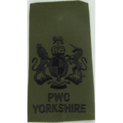 WO1 (RSM) PWO/Yorkshire Black On Olive Green with Queen Elizabeth's Crown. Embroidered Warrant Officer rank badge