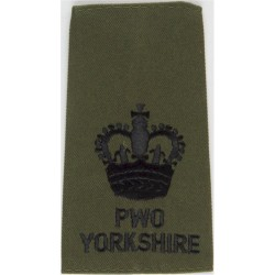 WO2 (Crown Only) PWO/Yorkshire Black On Olive Green with Queen Elizabeth's Crown. Embroidered Warrant Officer rank badge