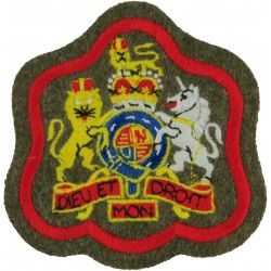 WO1 (RSM) Rank Badge (on Khaki - Scarlet Border) RAOC, RMP, RPC, Inf with Queen Elizabeth's Crown. Embroidered Warrant Officer r