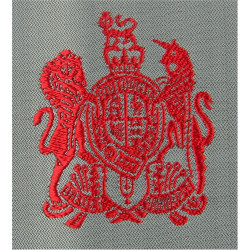 WO1 Rank Badge - QA Royal Army Nursing Corps Red On Grey Square with Queen Elizabeth's Crown. Woven Warrant Officer rank badge