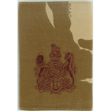 WO1 Rank Badge - Brown On Desert Camouflage  with Queen Elizabeth's Crown. Embroidered Warrant Officer rank badge