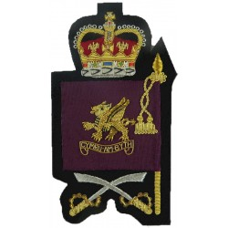 Drill Sergeant's Arm Badge - Welsh Guards Full Size Flag/ Dragon/ Swords with Queen Elizabeth's Crown. Bullion wire-embroidered