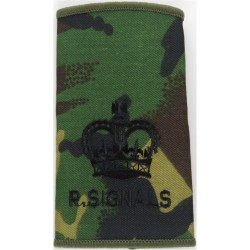 WO2 (Crown) R Signals (264 SAS Signal Squadron) Black On DPM with Queen Elizabeth's Crown. Embroidered Warrant Officer rank badg