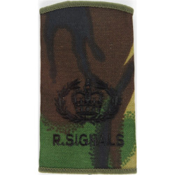 WO2 (RQMS) R Signals (264 SAS Signal Squadron) Black On DPM with Queen Elizabeth's Crown. Embroidered Warrant Officer rank badge