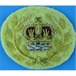 WO2 (RQMS) Rank Crown In Wreath: Mess Dress: On Buff Cheshire Regiment with Queen Elizabeth's Crown. Bullion wire-embroidered Wa