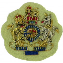 WO1 Rank Badge - Mess Dress Size - Primrose Yellow Cavalry & RAPC with Queen Elizabeth's Crown. Bullion wire-embroidered Warrant