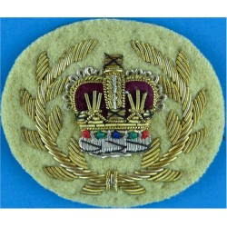 WO2 (RQMS) Rank Crown In Wreath: Mess Dress Primrose Cavalry & RAPC with Queen Elizabeth's Crown. Bullion wire-embroidered Warra