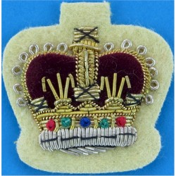 WO2 Rank Crown - Mess Dress Size: On Primrose Yellow Cavalry & RAPC with Queen Elizabeth's Crown. Bullion wire-embroidered Warra