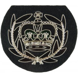 WO2 (RQMS) Rank Badge - No.1 Dress Size - The Rifles Black/Silver - Green with Queen Elizabeth's Crown. Bullion wire-embroidered