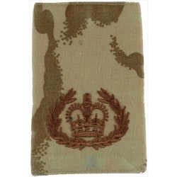 WO2 (RQMS) Rank Badge - On Desert Camouflage  with Queen Elizabeth's Crown. Embroidered Warrant Officer rank badge