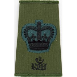 WO2 (Crown Only) Rank RGJ (Royal Green Jackets) Black On Olive with Queen Elizabeth's Crown. Embroidered Warrant Officer rank ba