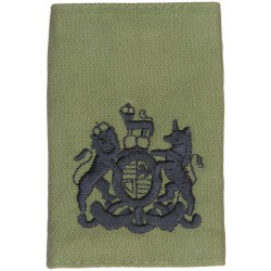 WO1 (RSM) Rank Badge - Royal Marines Black On Olive Green with Queen Elizabeth's Crown. Embroidered Marines or Commando insignia