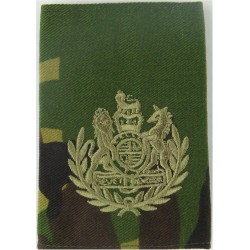 WO1 Conductor Rank Badge Brown On DPM Camo with Queen Elizabeth's Crown. Embroidered Warrant Officer rank badge