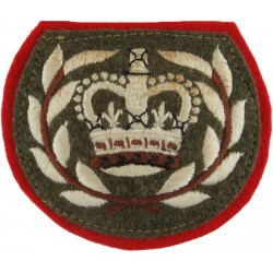 WO2 (RQMS) Rank Badge (Duke Of Wellington's) Sewn Onto Red with Queen Elizabeth's Crown. Embroidered Warrant Officer rank badge