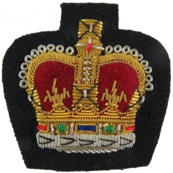 WO2 Rank Badge (Crown) - Mess Dress Size Gold On Rifle Green with Queen Elizabeth's Crown. Bullion wire-embroidered Warrant Offi