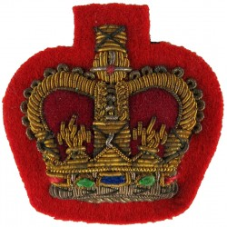 WO2 Rank Badge (Crown Only) - Mess Dress On Scarlet with Queen Elizabeth's Crown. Bullion wire-embroidered Warrant Officer rank