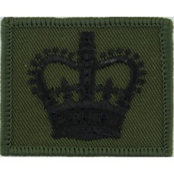WO2 Rank Badge On Small Rectangle Black On Olive Green with Queen Elizabeth's Crown. Embroidered Warrant Officer rank badge