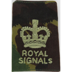 WO2 (Crown Only) - Royal Signals - On Camouflage Rank Slide with Queen Elizabeth's Crown. Embroidered Warrant Officer rank badge