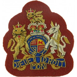 WO1 Rank Badge - No.1 Dress Size - WRAC On Beech Brown with Queen Elizabeth's Crown. Bullion wire-embroidered Warrant Officer ra