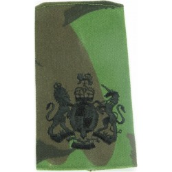 WO1 (RSM) Rank Badge Black On DPM Camo with Queen Elizabeth's Crown. Embroidered Warrant Officer rank badge