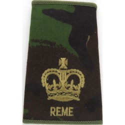 WO2 (Crown Only) REME Brown On DPM Camo with Queen Elizabeth's Crown. Embroidered Warrant Officer rank badge