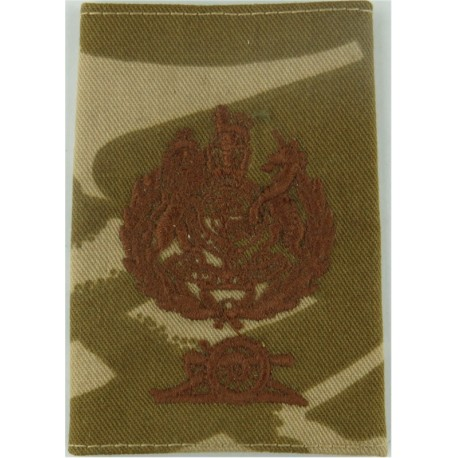 WO1 Master Gunner 1: Royal Arms + Wreath + Cannon FR Brown On Desert Camo with Queen Elizabeth's Crown. Embroidered Warrant Offi