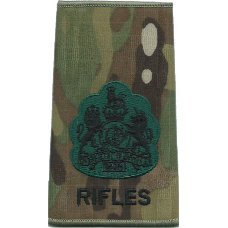 WO1 (RSM) The Rifles (no Bugle) On MTP Camouflage with Queen Elizabeth's Crown. Embroidered Warrant Officer rank badge