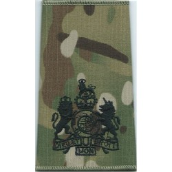 WO1 (RSM) Rank Badge Black On MTP Camo with Queen Elizabeth's Crown. Embroidered Warrant Officer rank badge