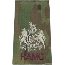WO1 (RSM) RAMC (Royal Army Medical Corps) On MTP Camouflage with Queen Elizabeth's Crown. Embroidered Warrant Officer rank badge