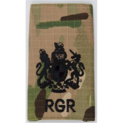 WO1 (RSM) RGR (Royal Gurkha Rifles) Black On MTP Camo with Queen Elizabeth's Crown. Embroidered Warrant Officer rank badge