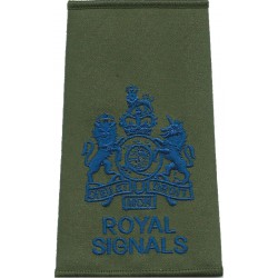 WO1 (RSM) Royal / Signals Blue On Olive Green with Queen Elizabeth's Crown. Embroidered Warrant Officer rank badge