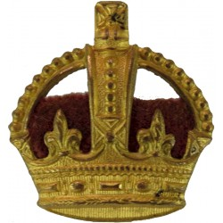 Officer's Rank Crown - Velvet Cushion 23.5mm High with Queen Elizabeth's Crown. Anodised Officer rank badge