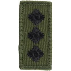 Captain's Rank Badge - For Combat Helmet Black On Olive Green  Embroidered Officer rank badge