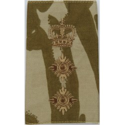Colonel - Brown On Desert Camouflage Rank Slide with Queen Elizabeth's Crown. Embroidered Officer rank badge