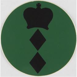 NBC Suit Rank Sticker - Colonel Black On Green with Queen Elizabeth's Crown. Vinyl Officer rank badge