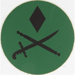 NBC Suit Rank Sticker - Major-General Black On Green  Vinyl Officer rank badge
