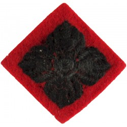 Officer's Rank Star - Black On Red - KRRC Or 2 GR Padded  Embroidered Officer rank badge