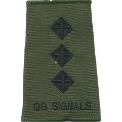 Queen's Gurkha Signals Captain Black On Olive  Embroidered Officer rank badge