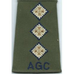 AGC Captain (Adjutant General's Corps) - Dark Blue Rank Slide On Olive  Embroidered Officer rank badge