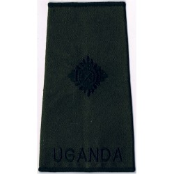 Uganda Army Second Lieutenant's Rank Slide: Subdued   Embroidered Officer rank badge