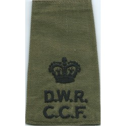 DWR CCF Major - On Olive Rank Slide with Queen Elizabeth's Crown. Embroidered Officer rank badge