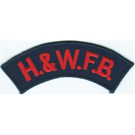 Hereford And Worcester Fire Brigade Shoulder Title  Embroidered Fire and Rescue Service insignia