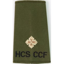 ACF Lieutenant Colonel (Army Cadet Force) Rank Slide Colour On Olive Queen's Crown. Embroidered Officer rank badge