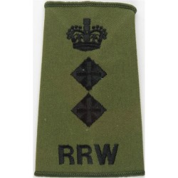 RRW Colonel (Royal Regiment Of Wales) Rank Slide Black On Olive Green with Queen Elizabeth's Crown. Embroidered Officer rank bad